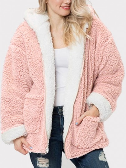 Pink White Pockets Zipper Drawstring Hooded Long Sleeve Oversize Teddy Coat