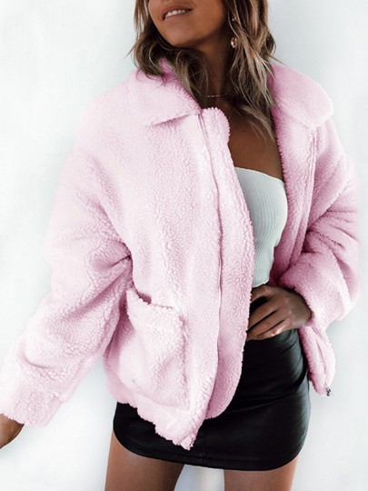 Pink Patchwork Pockets Zipper Turndown Collar Long Sleeve Fluffy Jacket Thick Outerwear
