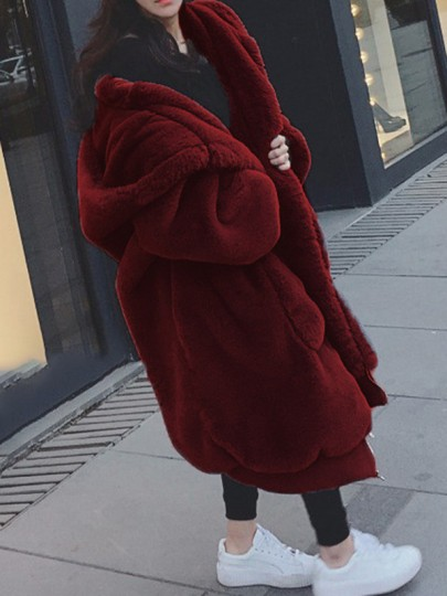 Burgundy Pockets Zipper Hooded Long Sleeve Fluffy Faux Fur Thick Coat Outerwear