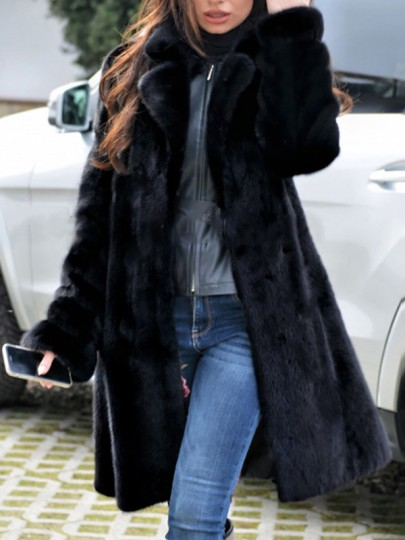 Black Faux Fur Turndown Collar Long Sleeve Fashion Oversize Coat