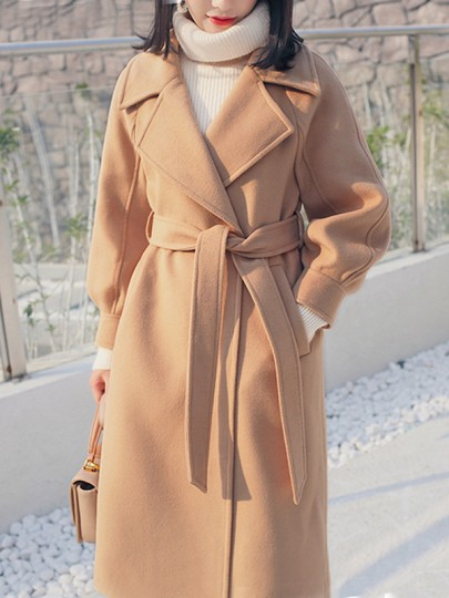 Camel Pockets Buttons Sashes Turndown Collar Long Sleeve Wool Coat