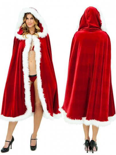 Red White Lace-up Christmas Hooded Cloak Poncho Cape Coat
