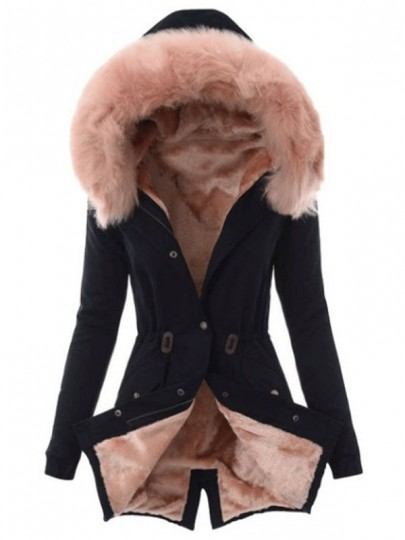 Black Pink Fur Pocket Hooded Long Sleeve Fashion Padded Coat