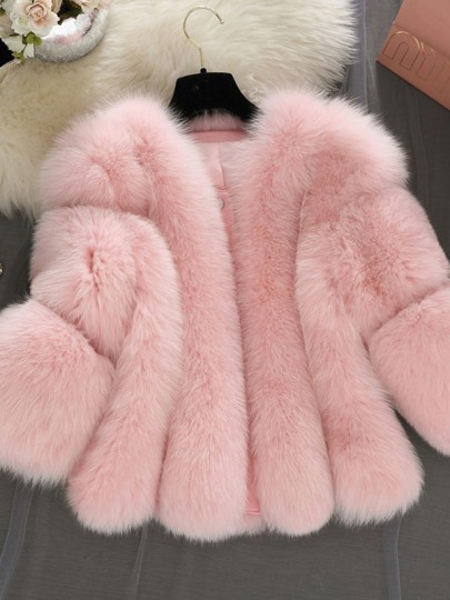 Pink Faux Fur Round Neck Long Sleeve Elegant Outerwear