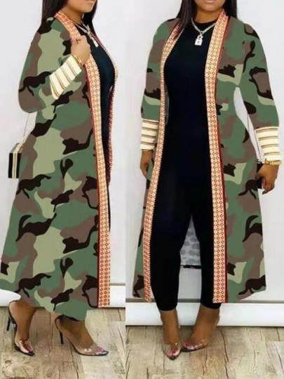 Army Green Camouflage Pattern Long Sleeve Cardigan Outerwear Coat