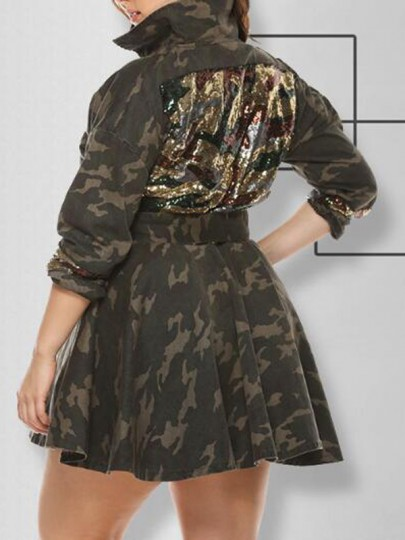 Army Green Camouflage Pattern Single Breasted Sequin Peplum Turndown Collar Plus Size Coat