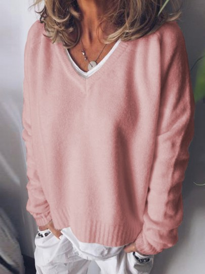 Pink V-neck Long Sleeve Oversize Fashion Pullover Sweater