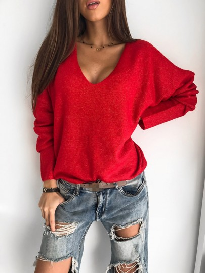 Roter Patchwork Pastell V-Ausschnitt Langarm Fashion Sweater Pullover
