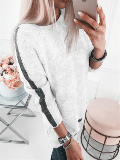 White Striped Print Round Neck Long Sleeve Pullover Sweater