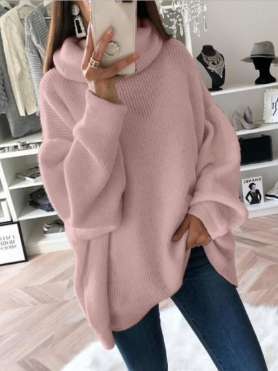 Pull col haut manches longues mode oversize rose