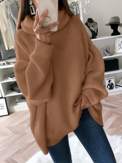 Pull col haut manches longues mode oversize marron