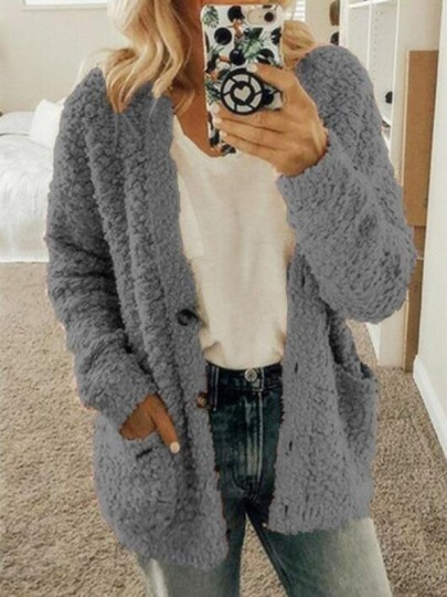 Dark Grey Pockets Single Breasted Fuzzy Long Sleeve Casual Cardigan Sweater