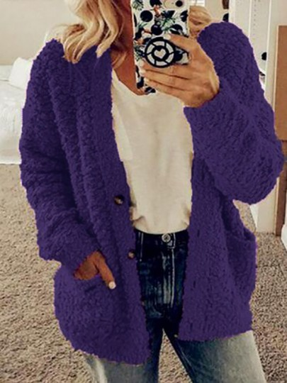 Purple Pockets Single Breasted Fuzzy Long Sleeve Casual Cardigan Sweater