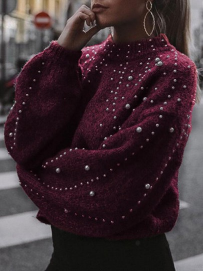 Burgundy Patchwork Pearl Band Collar Long Sleeve Pullover Sweater