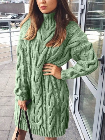 Pull robe en grosse maille col roulé manches longues ample femme mode vert