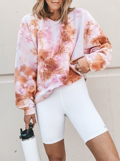 Sweatshirt tie and dye manches longues oversized mode femme rose