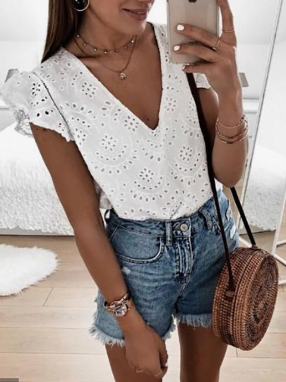 Chemisier broderie anglaise v-cou manches courtes mode femme blouse blanche