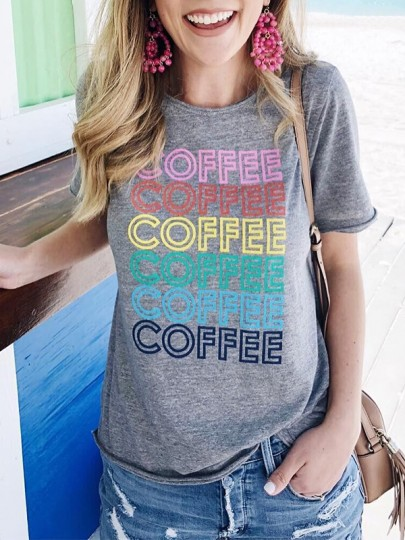 Grey Letter Pattern Round Neck Short Sleeve Fashion T-Shirt