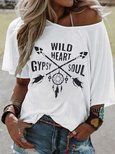 T-shirt gypsy soul one? épaule manche au coude grande taille casual blanc