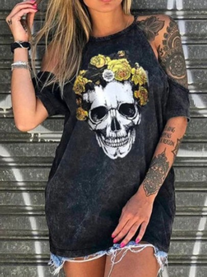Black Skull Flowers Cut Out Halter Neck Casual T-Shirt