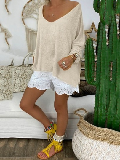 Khaki Bodycon Comfy Long Sleeve Round Neck Going out T-Shirt