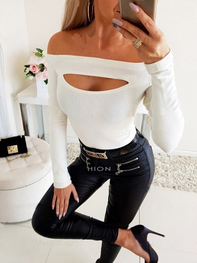 White Cut Out Off Shoulder Bodycon Going out T-Shirt