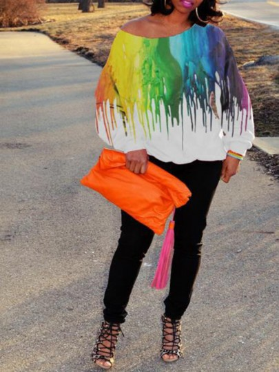 White Colorful Tie Dye Print Off Shoulder Long Sleeve 70S T-Shirt