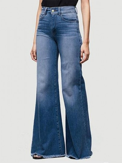 Dark Blue Pockets Washed-out Style High Waisted Wide Leg Fashion Flare Jeans