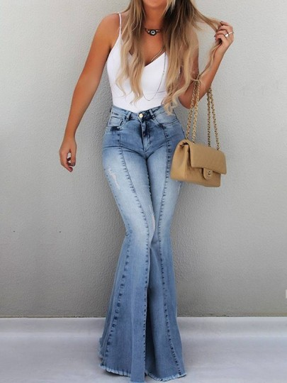 Light Blue Pockets High Waisted Distressed Extreme Flare Bell Bottom Vintage Long Jeans