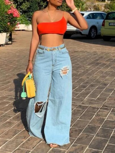 Light Blue Cut Out High Waisted Ripped Destroyed Denim Wide Leg Long Jeans