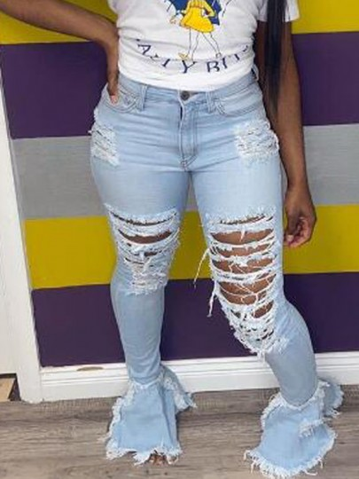 Light Blue Cut Out Ripped Distressed High Waisted Flare Bell Bottom Long Jeans