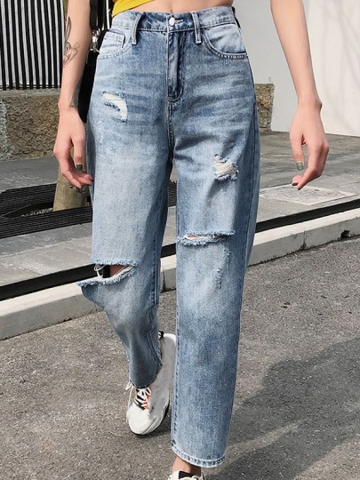 Blue Ripped Destroyed Loose High Waisted Vintage Boyfriend Long Jeans