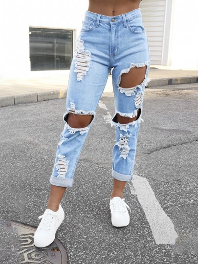 Light Blue Patchwork Ripped Destroyed High Waisted Fashion Jeans Pants