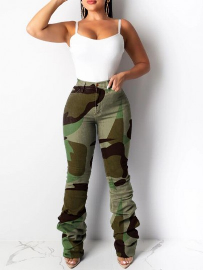 Army Green Camouflage Pockets Pleated Ruched High Waisted Long Jeans