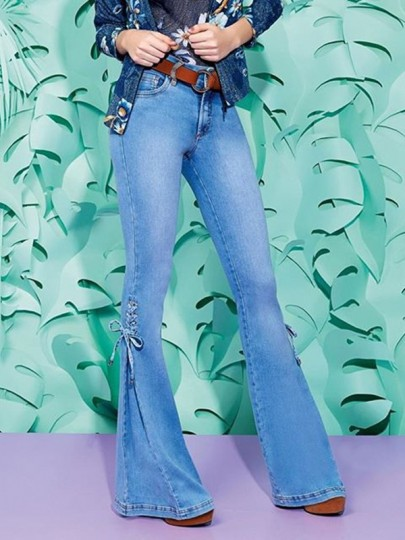 Blue Pockets Buttons Lace-up Mid-rise Fashion Going out Long Flare Jeans