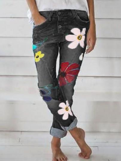 Jeans longue imprimé à fleurie boutons décontracté mode femme denim pantalon noir