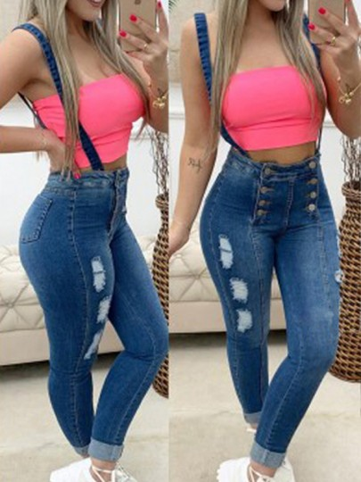 Sapphire Blue Buttons Pockets Ripped High Waist Bodycon Long Overall Pants Jeans