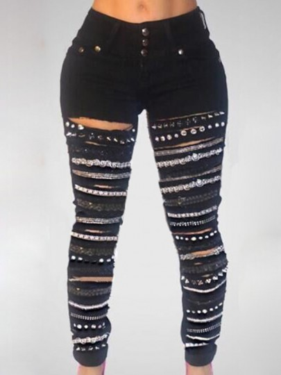 Black Patchwork Pockets Buttons Rhinestone Chain Jeans High Waisted Long Jeans