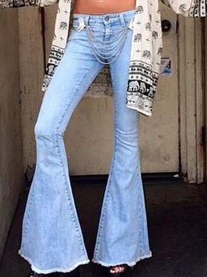 Light Blue Pockets Buttons High Waisted Big Flare Bell Bottom Vintage 70S Long Jeans