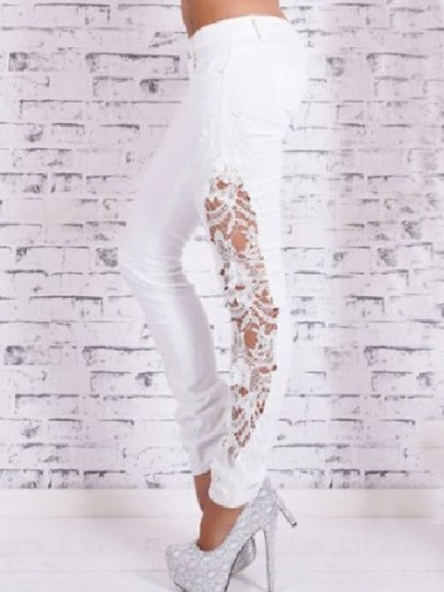 White Lace High Waisted Fashion Long Jeans Pants