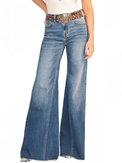 Jeans longs poches boutons jambe large taille haute palazzo vieilli vieilli bleu clair