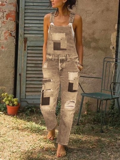 Yellow Patch Jeans Pockets Ripped Destroyed Overall Long Denim Dungarees Jumpsuit