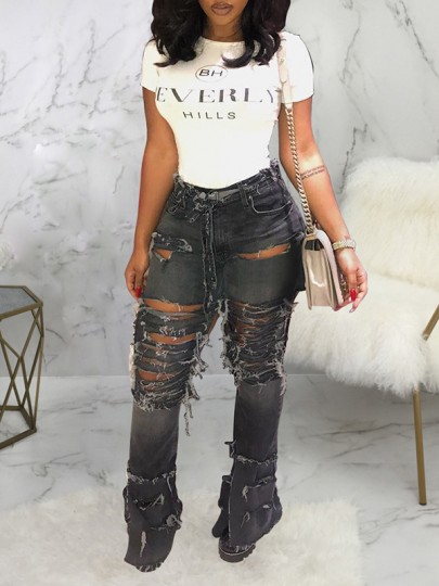Black Pockets Buttons Belt High Waisted Flare Bell Bottom Ripped Destroyed Baggy Jeans