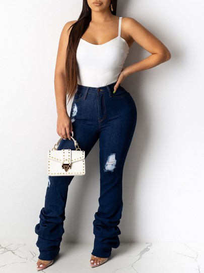 Blue Buttons Pockets Ripped High Waisted Flare Bell Bottom Long Scrunch Jeans