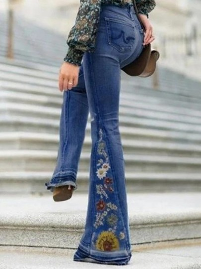 Dark Blue Embroidery High Waisted Flare Bell Bottom Long Jean Pants