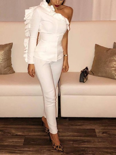 White Ruffle Asymmetric Shoulder Two Piece Bodycon Fashion Long Jumpsuit