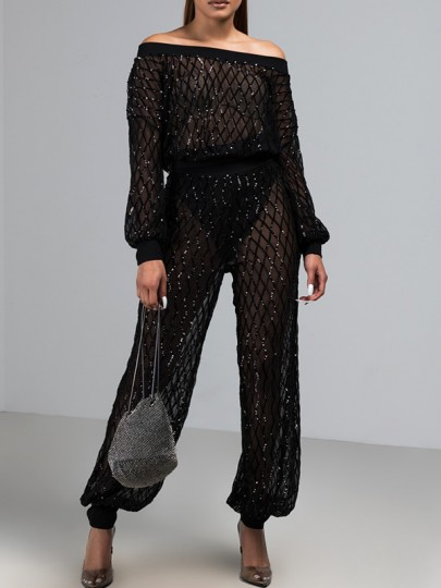 Black Sequin Glitter Sheer Off Shoulder Plus Size Two Piece Fashion Birthday Party Club Long Jumpsuit