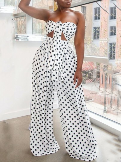White Polka Dot Kont Off Shoulder Cut Out Two Piece Bohemian High Waisted Wide Leg Palazzo Long Jumpsuit