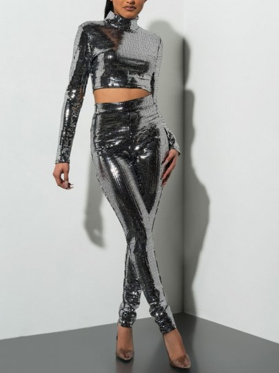Silver Patchwork Sequin Two Piece Bodycon Sparkly Glitter Birthday Party Long Jumpsuit