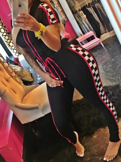Black Plaid Drawstring High Waisted Two Piece Rave Festival Checkerboard Casual Long Jumpsuit